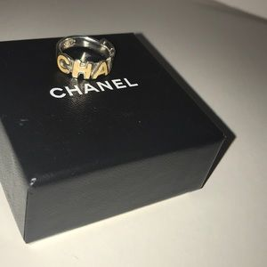 Authentic vintage Chanel logo ring